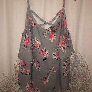 torrid Tops - Torrid gray floral layered tank 0 0X XL
